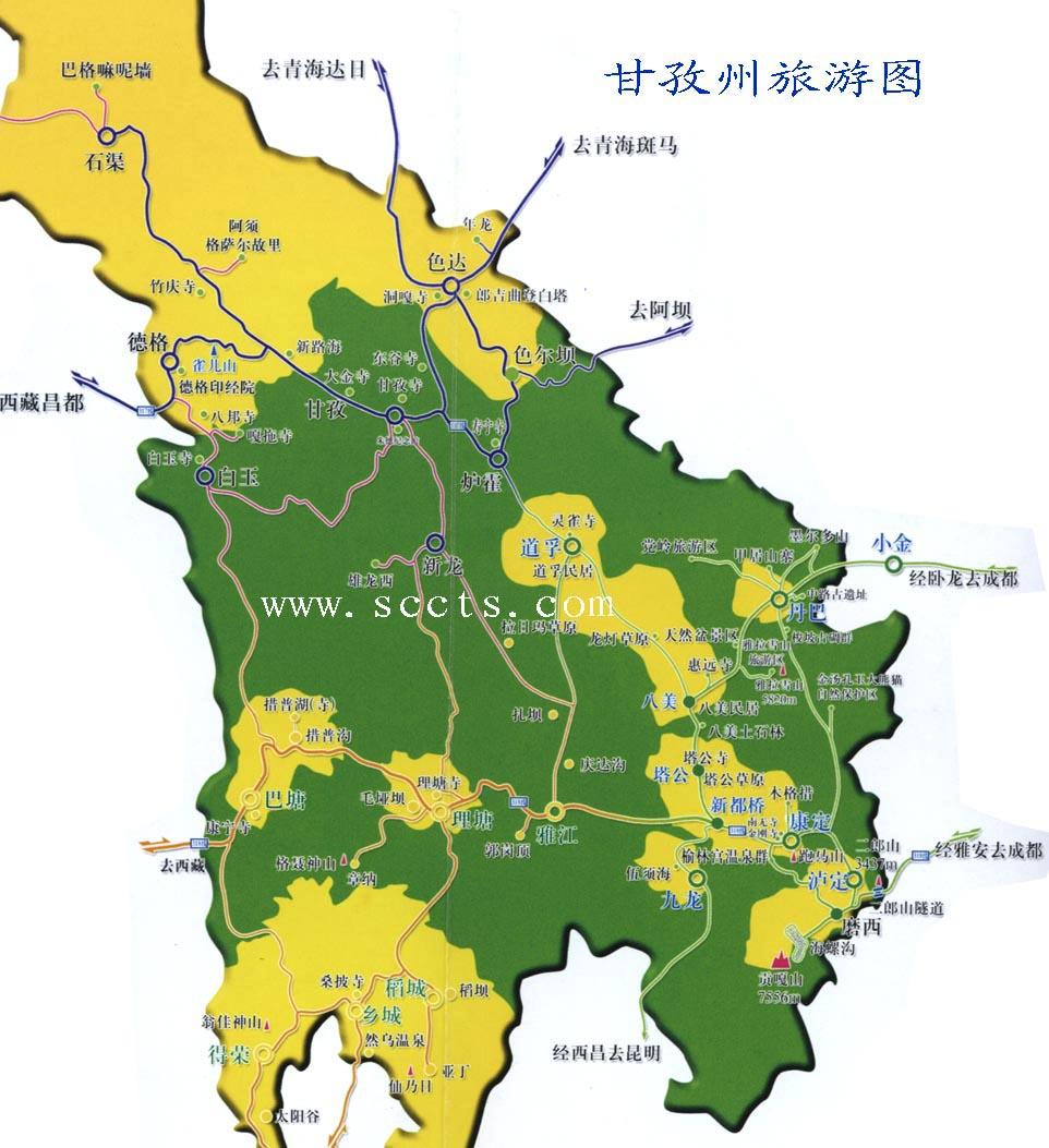 甘孜旅游地图
